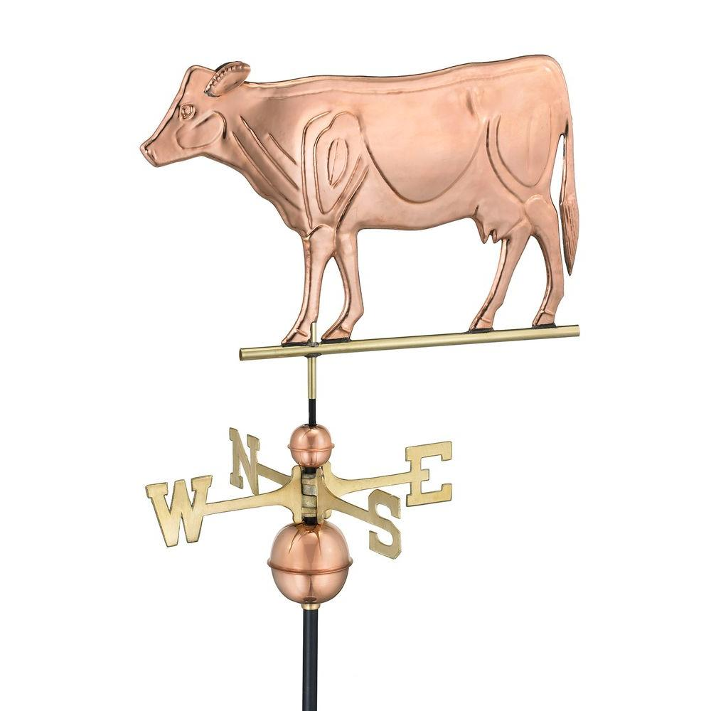 Good Directions Dairy Cow Weathervane in Polished Copper