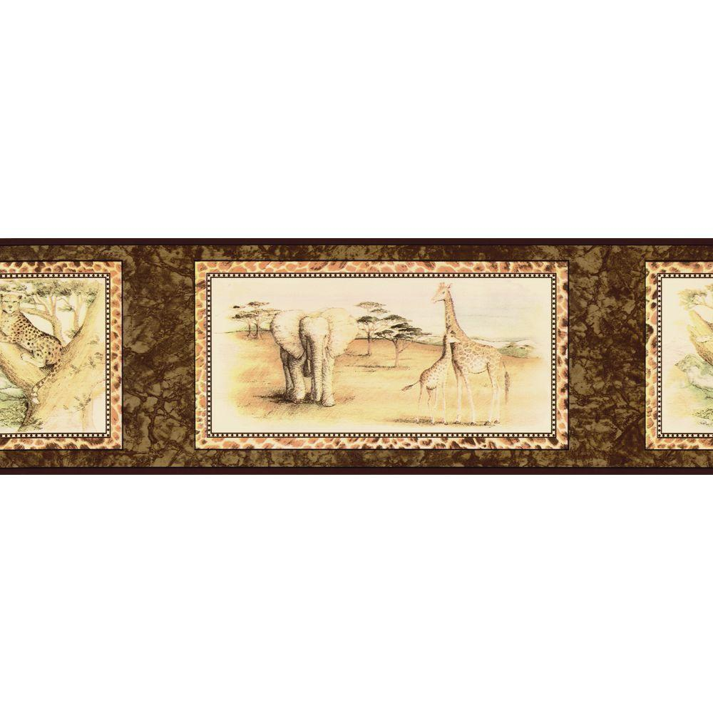 The Wallpaper Company 8 in. x 10 in. Black and Brown African Animals Border Sample-DISCONTINUED