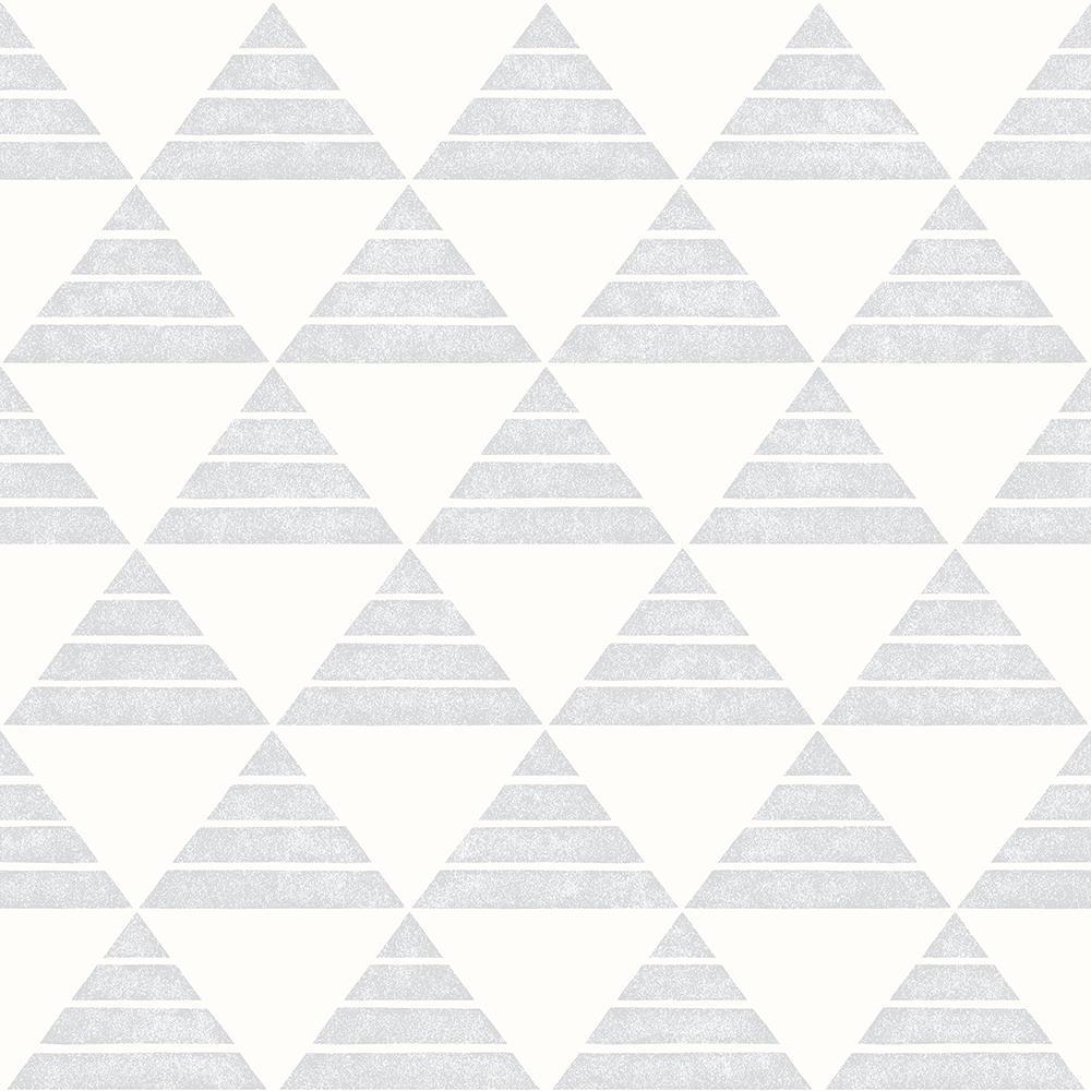 A-Street Summit Light Grey Triangle Wallpaper 2697-78073