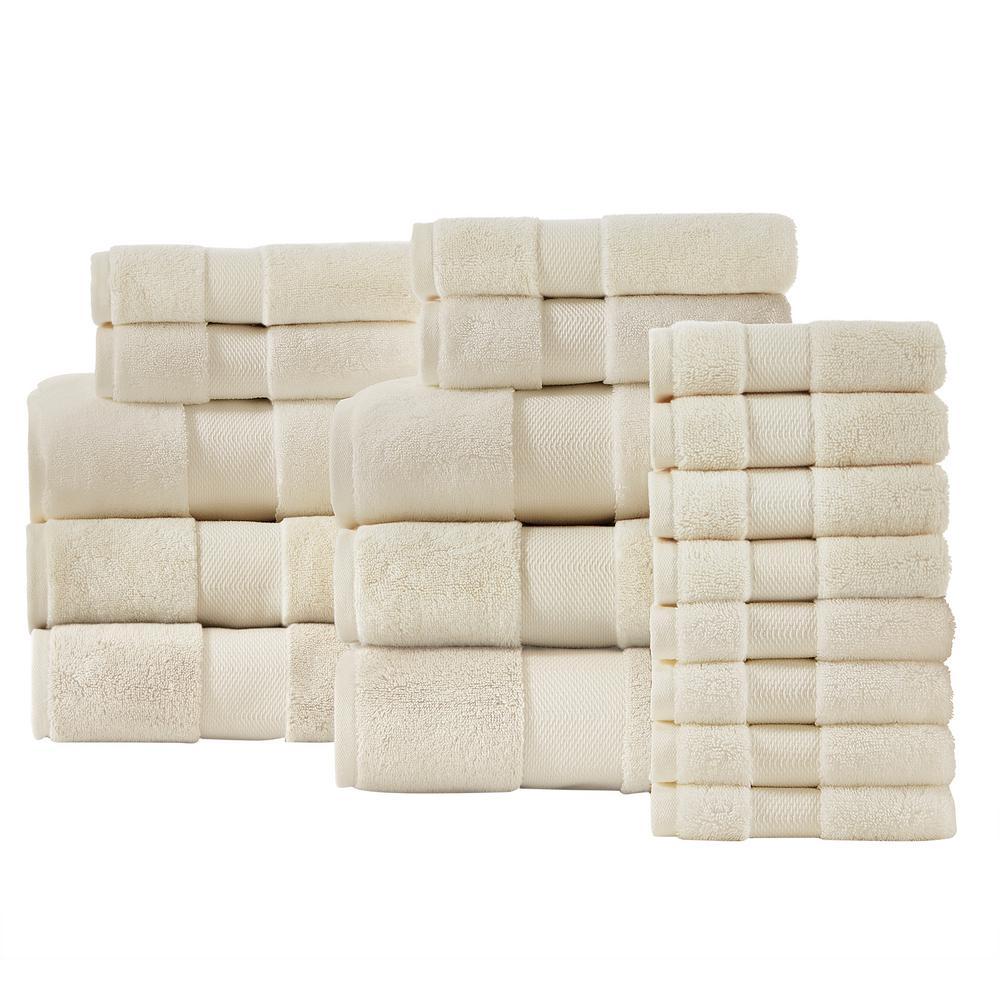 Home Decorators Collection Plush Soft Cotton 18-Piece Towel Set in Ivory