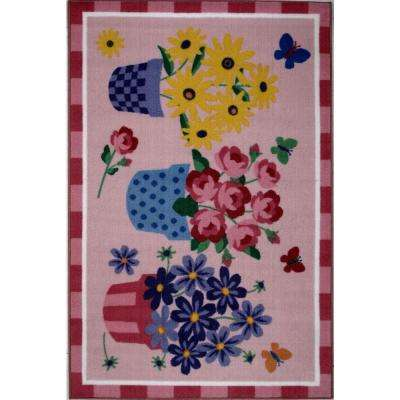 Olive Kids Blossoms and Butterflies Multi Colored 39 in. x 58 in. Area Rug