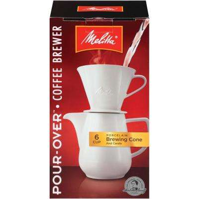 32 oz. Porcelain Carafe Cone Coffeemaker (Set 6 Cup Size)
