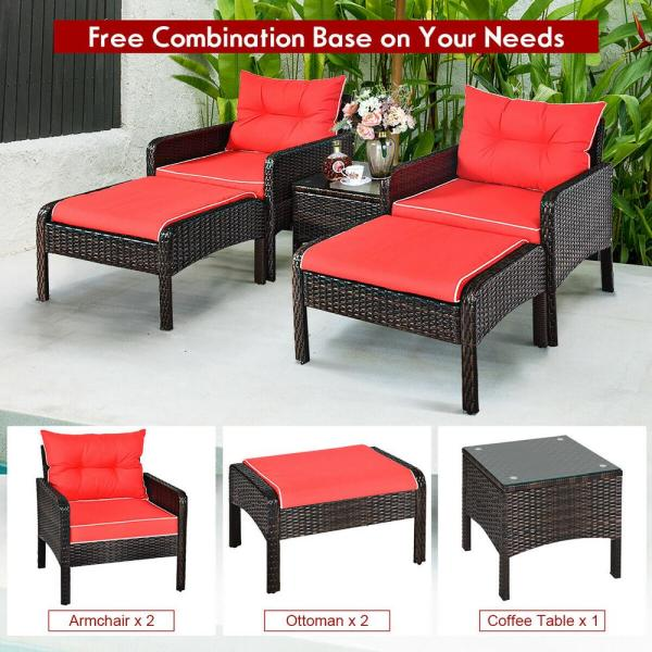 Costway Brown 5 Piece Rattan Wicker Patio Conversation Ottoman Sofa Coffee Table Set With Red Cushion Hw63771re The Home Depot