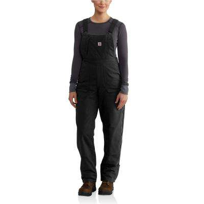 WOMEN'S SMALL BLACK COTTON/POLYESTER/SPANDEX FULL SWING CRYDER BIB OVERALLS