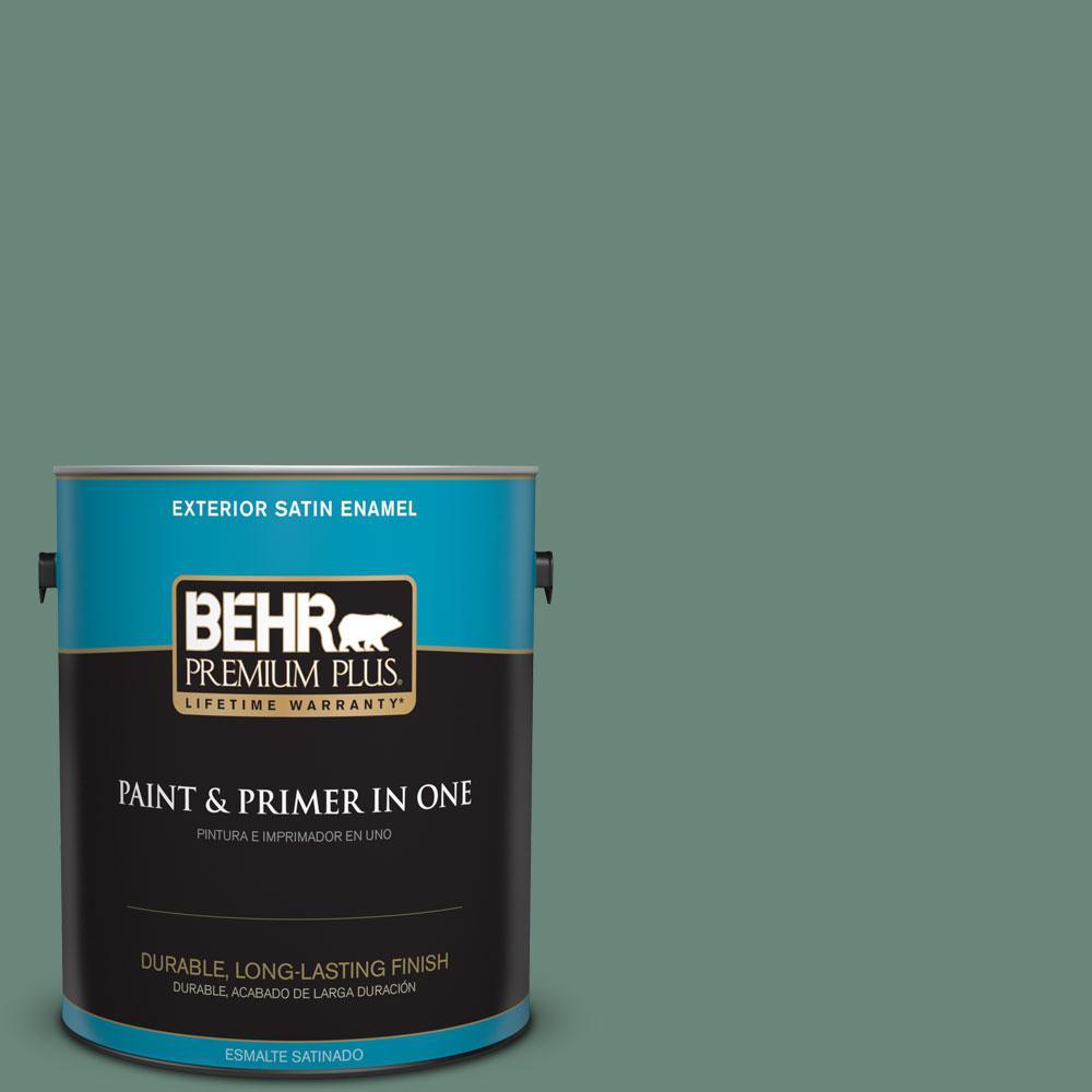 BEHR Premium Plus 1-gal. #470F-5 Garland Satin Enamel Exterior Paint