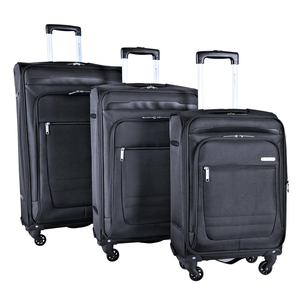 3-Piece Expandable Soft Side Vertical Rolling Luggage Set with Spinner Wheels