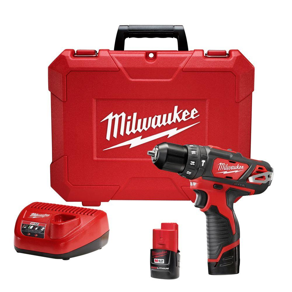 Milwaukee Hammer Drill Driver Kit Metal Ratcheting Chuck Cordless 12Volt 3//8 in.