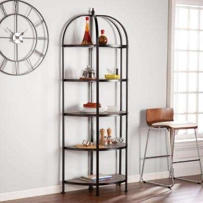 Peachtree 5-Shelf Rotunda Bookcase in Matte Black with Burnt Oak Shelves