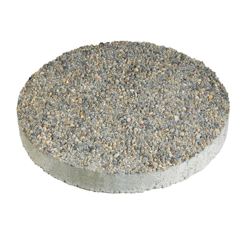 Round Exposed Aggregate Gray Concrete Step Stone