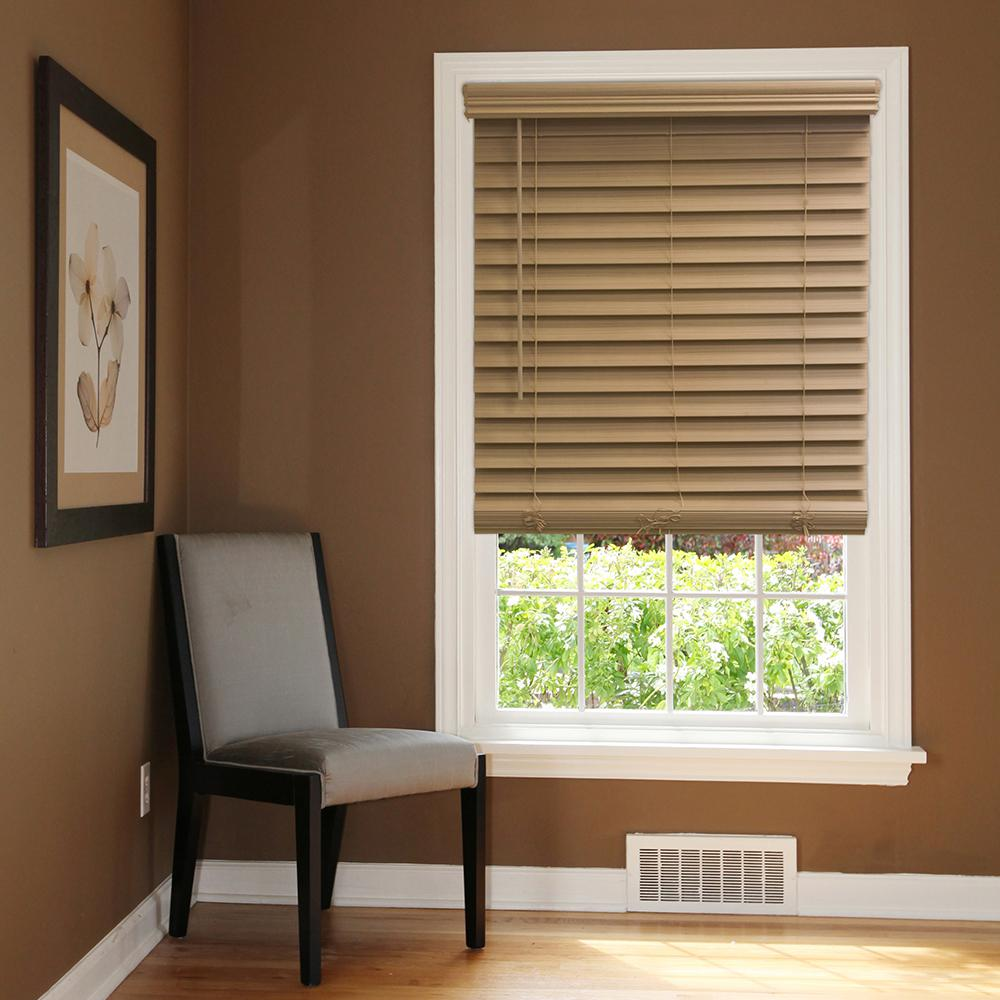 Chestnut Cordless 2-1/2 in. Premium Faux Wood Blind - 32.5 in.