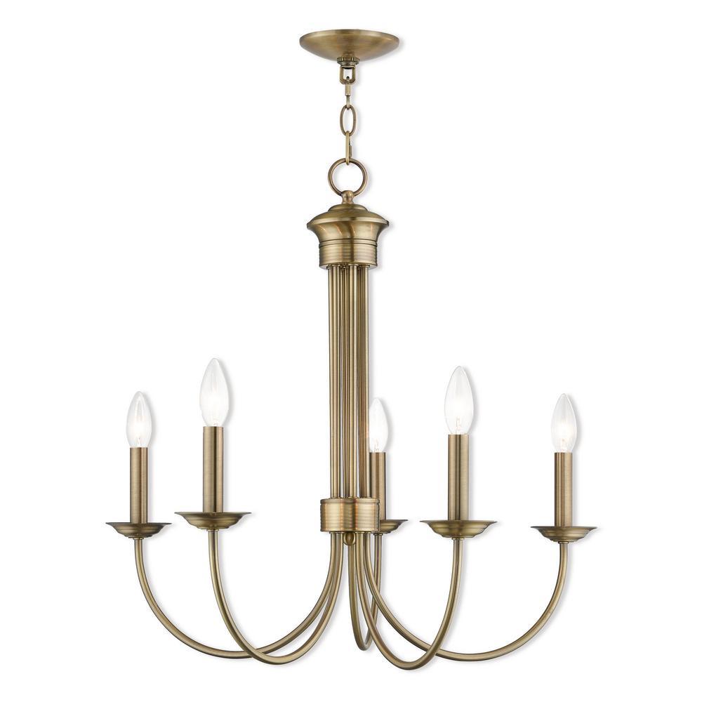 Estate 5-Light Antique Brass Chandelier