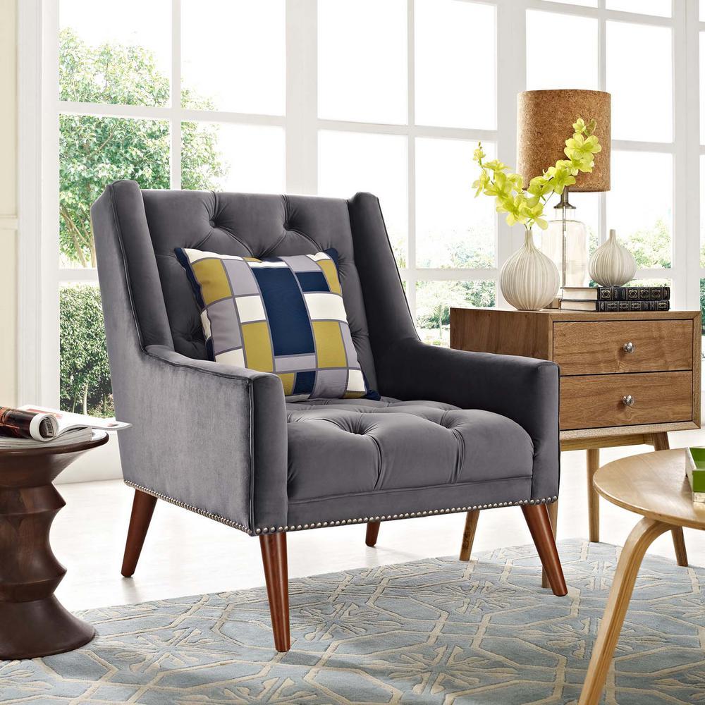 Peruse Gray Velvet Armchair