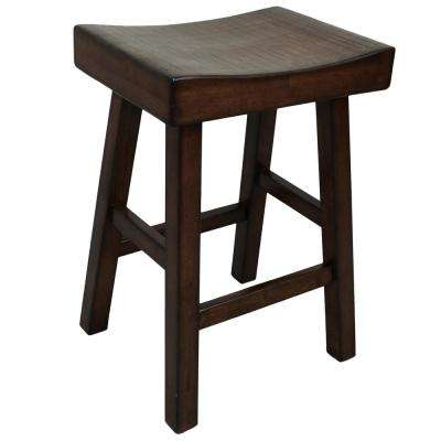 Colborn 25 in. Espresso Thick Saddle Seat Stool
