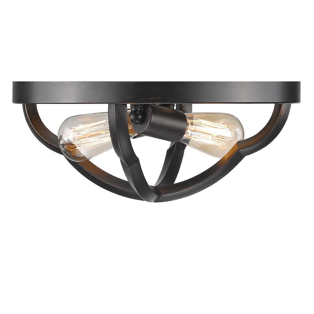 Saxon 2-Light Aged Bronze Flushmount Light