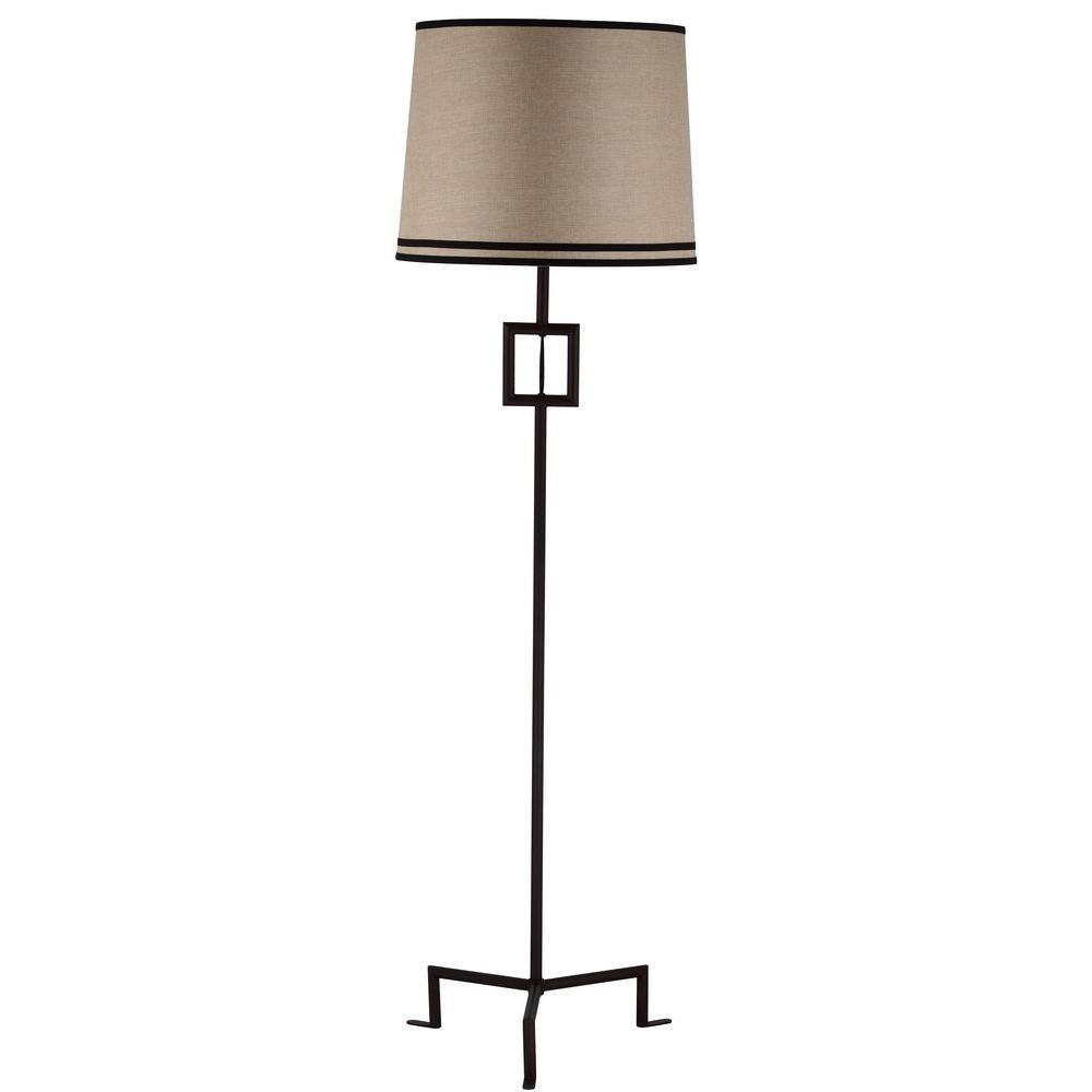Safavieh Thom Filicia Hanover 63 in. Blacksmith Bronze Floor Lamp with Beige Shade