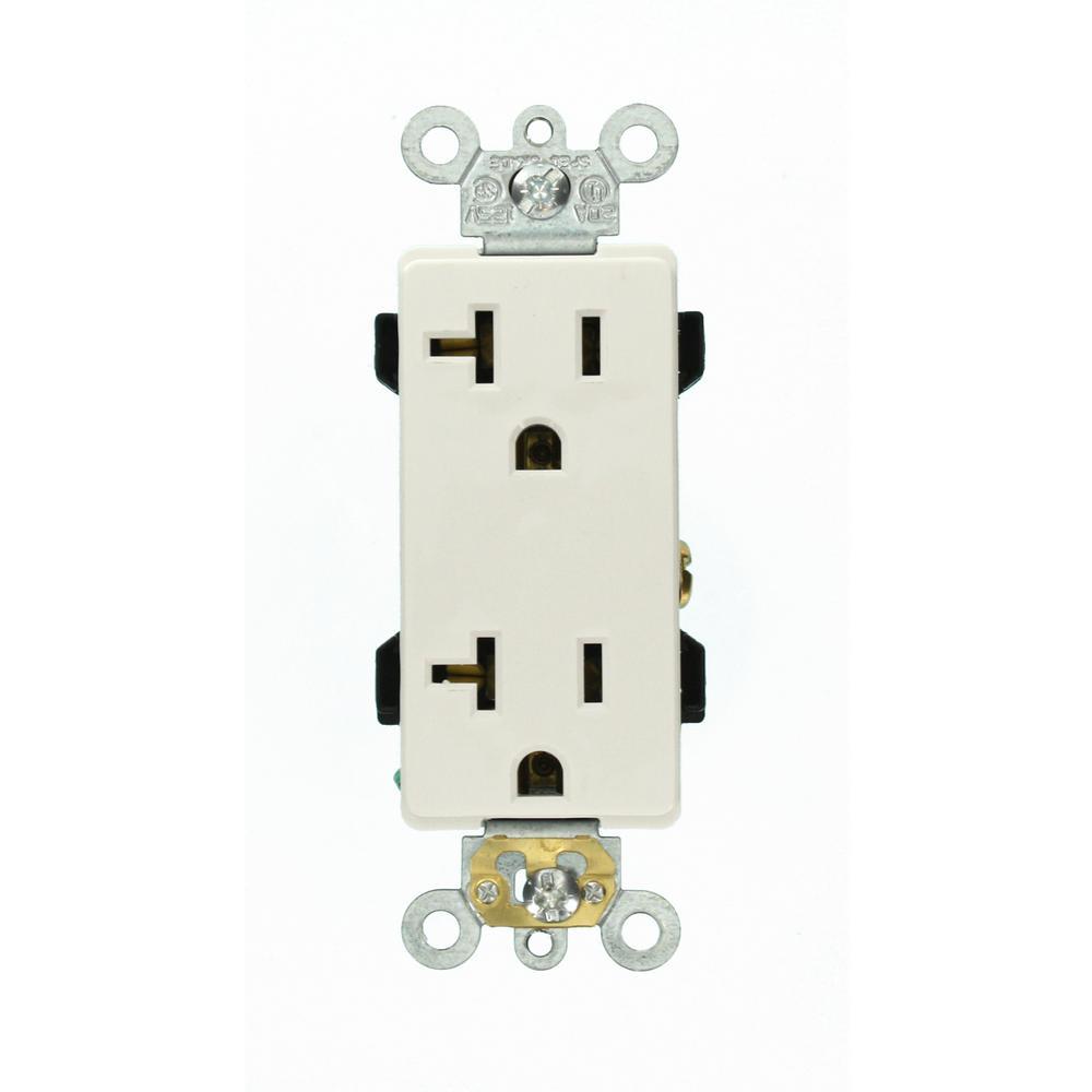 Leviton Decora Plus 20 Amp Industrial Grade Duplex Outlet  White-r62-16352-0ws