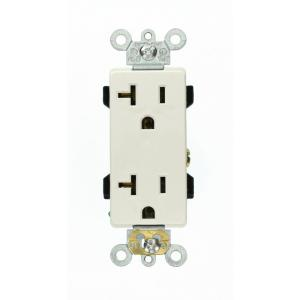 Leviton Decora Plus 20 Amp Industrial Grade Duplex Outlet, White by Leviton