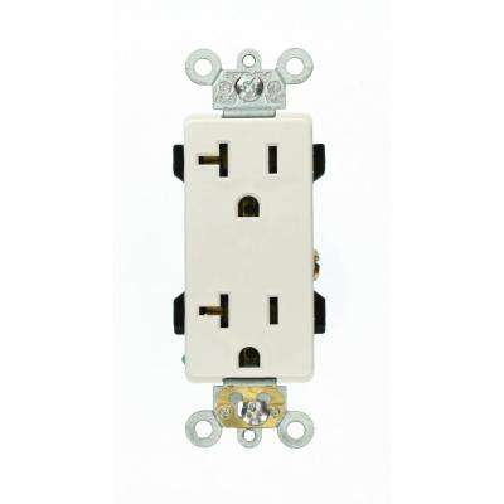 Decora Plus 20 Amp Industrial Grade Duplex Outlet, White