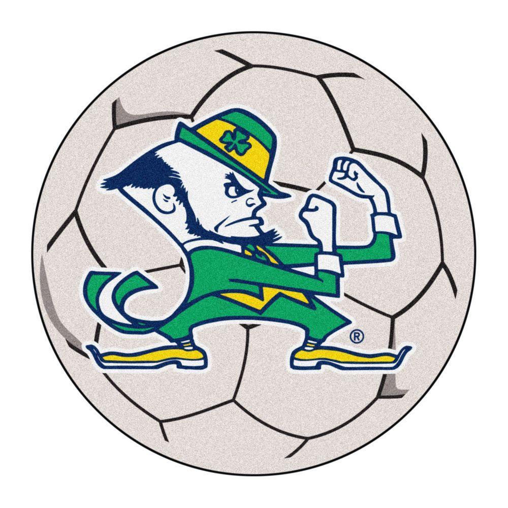 NCAA Notre Dame Fighting Irish Logo Cream 2 ft. x 2 ft. Round Area Rug