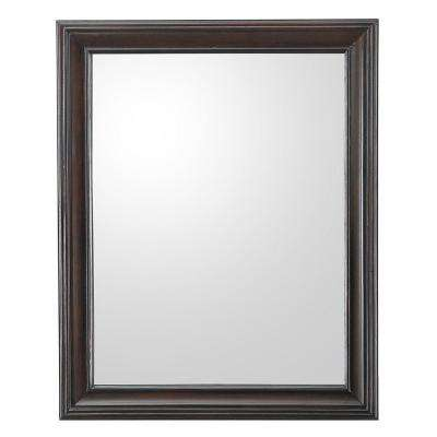 Ganado 24 in. W x 30 in. H Single Wall Hung Mirror in Burnished Walnut