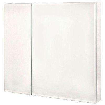 30 in. x 30 in. Frameless Recessed or Surface-Mount Bi-View Bathroom Medicine Cabinet with Beveled Mirror