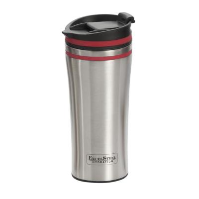 15 oz. Red Double Wall Stainless Steel Coffee Tumbler with Silicone Ring