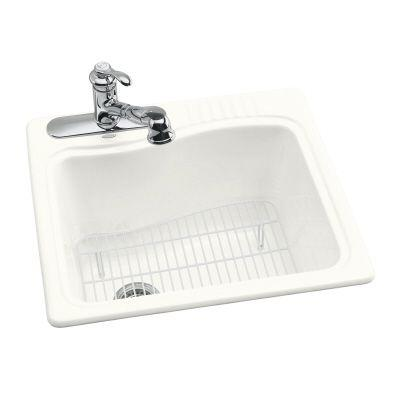 KOHLER River Falls Self-rimming Cast Iron 25x22x15 3-Hole Laundry Sink in White - DISCONTINUED