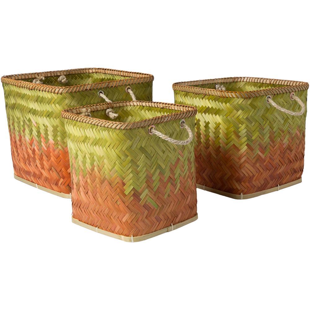 Wort Burnt Orange Bamboo 11 in. x 11.8 in., 13 in. x 13.4 in., 15.7 in. x 14.2 in. 3-Piece Basket Set