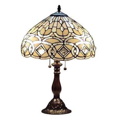 14 in. Tiffany Style and White Geometric Table Lamp