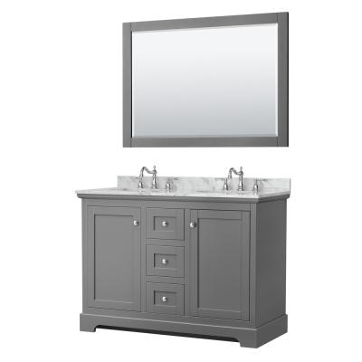 Avery 48 in. W x 22 in. D Double Vanity in Dark Gray with Marble Vanity Top in Carrara with Oval Basins and Mirror