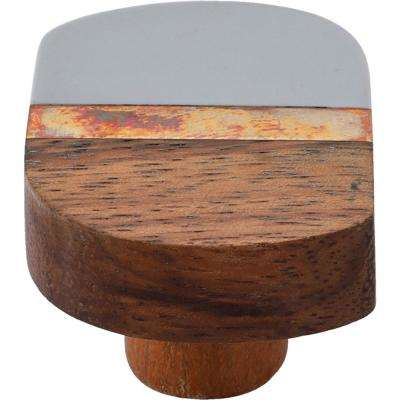 Lakewood 1-3/4 in. Grey and Wood Cabinet Knob