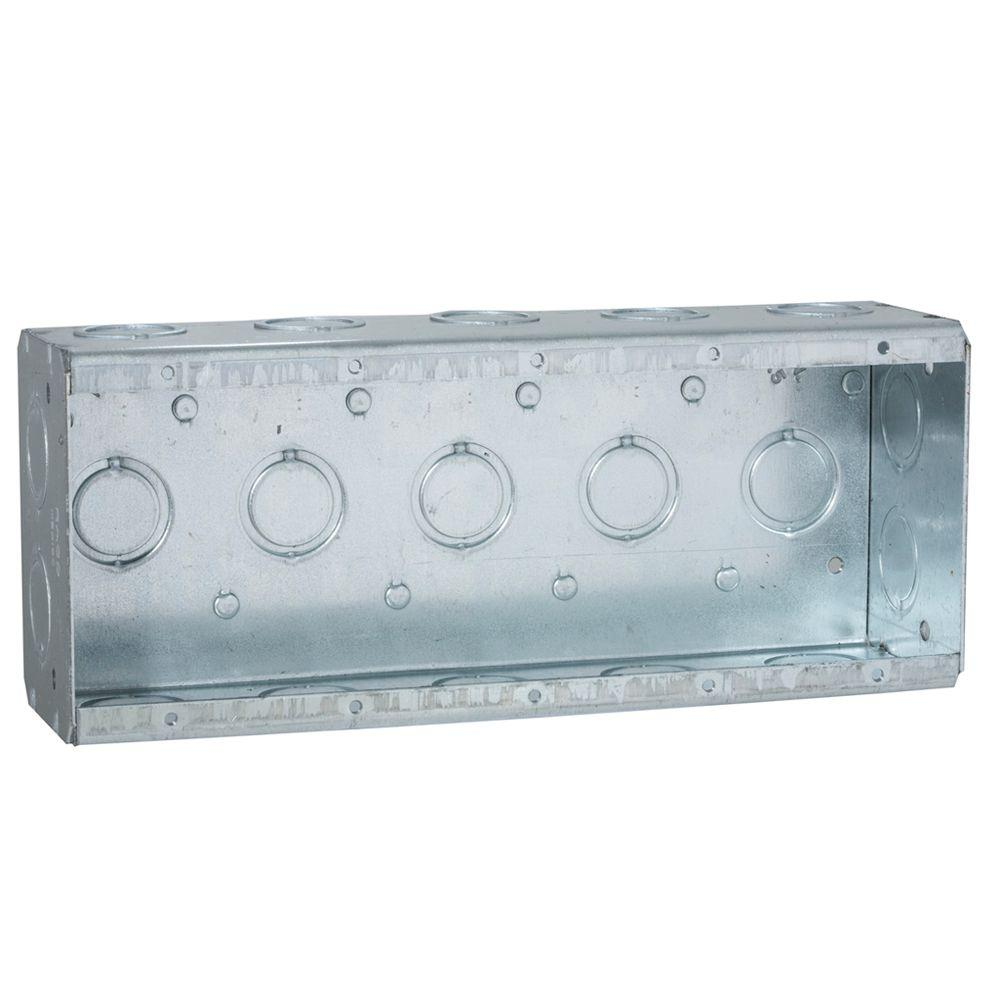 RACO 5-Gang Masonry Box, 2-1/2 in. Deep with 1/2 and 3/4 in Concentric KO's (10-Pack)