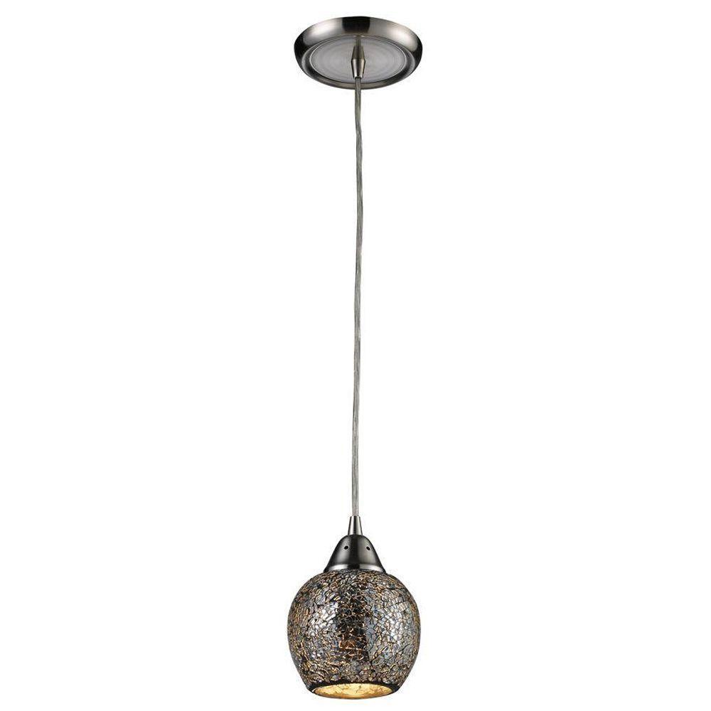 Titan Lighting Fission 1-Light Satin Nickel Ceiling Mount Pendant