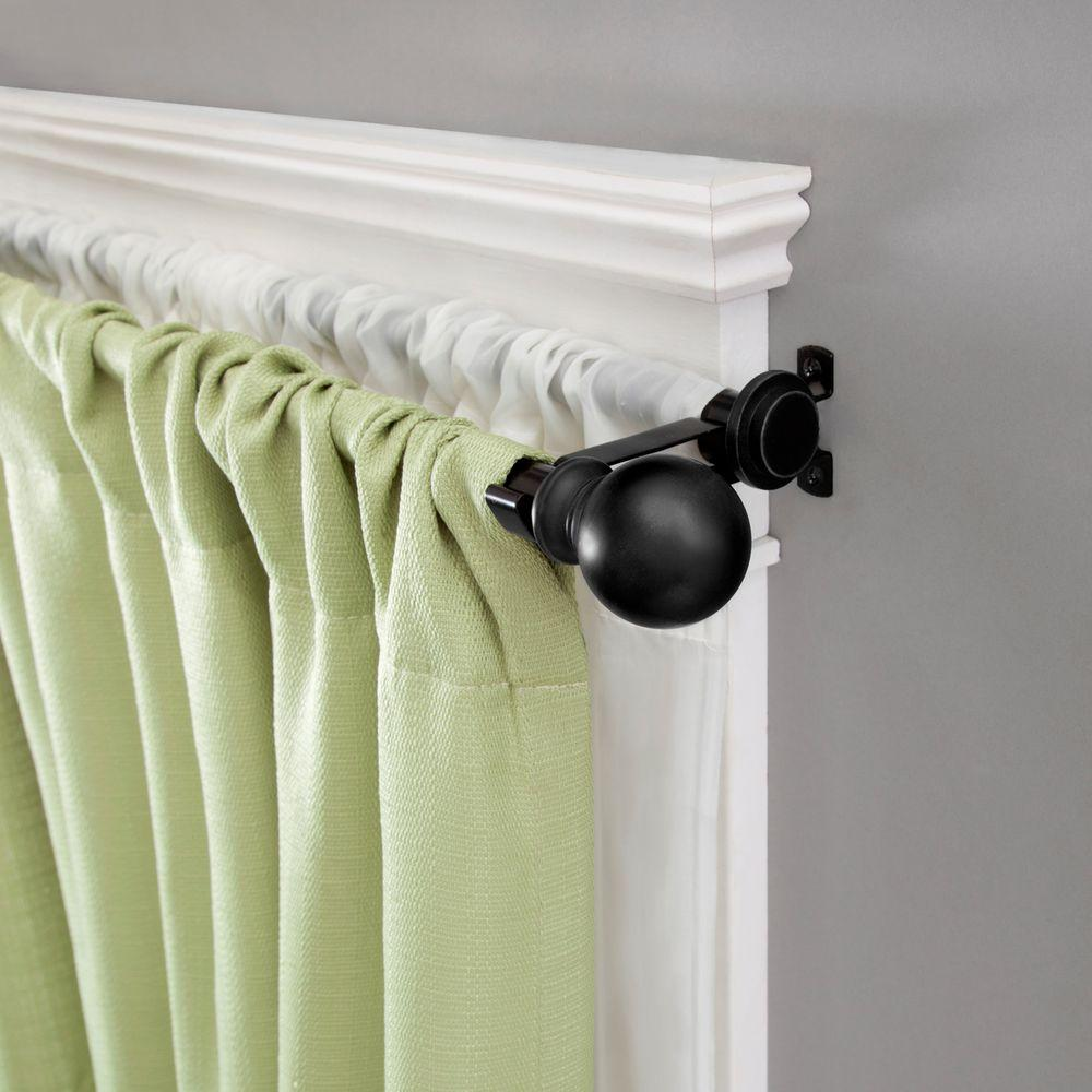 Standard Decorative Window Double Curtain Rod In Matte Black 75918rem The Home Depot