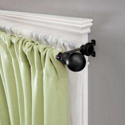 66 in. - 120 in. Ball 5/8 in. Standard Decorative Window Double Curtain Rod in Matte Black