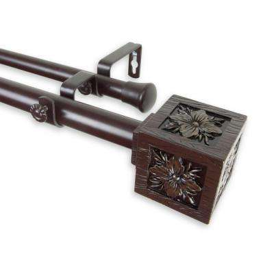 120 in. - 170 in. Telescoping 1 in. Double Curtain Rod Kit in Mahogany with Ophelia Finial