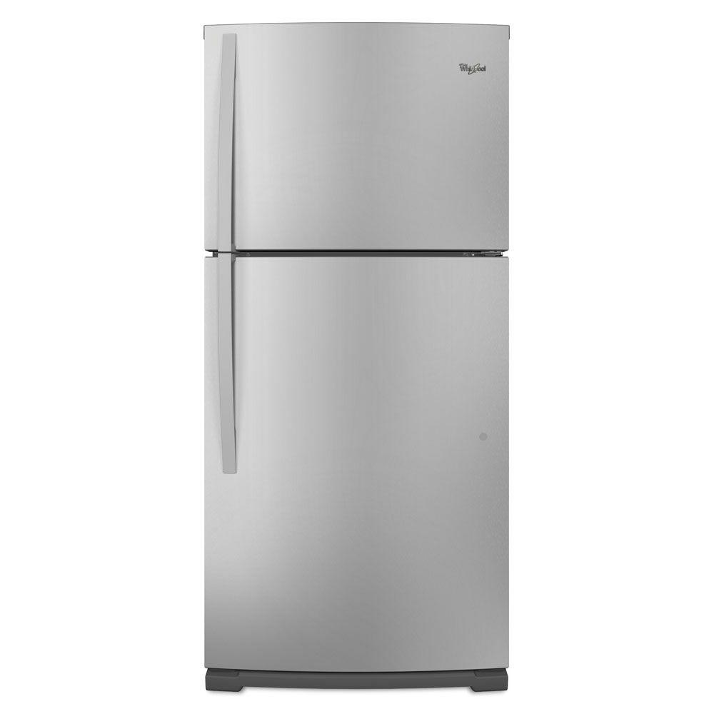 Whirlpool 18.9 cu. ft. Top Freezer Refrigerator in Mono Satina Steel