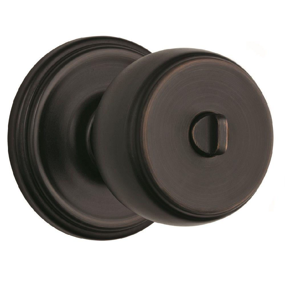 Brinks Home Security Ganyon Tuscan Bronze Turn-Lock Privacy Push Pull Rotate Door Knob