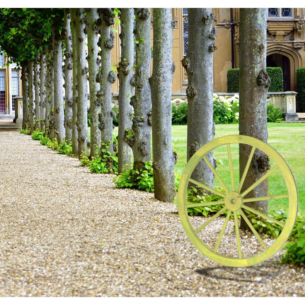 31 in. x 1.4 in. Decorative Antique Cottage Green Wagon Garden Wheel - 31 Wall Art