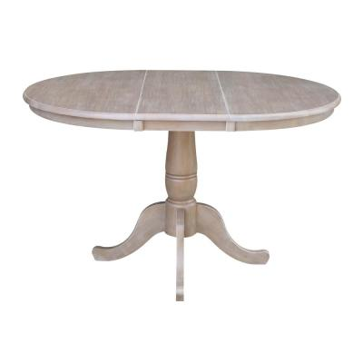36 in. x 48 in. x 30 in. H Gray Extension Laurel Pedestal Table