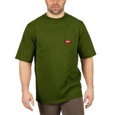 Men's 3X-Large Olive Green Heavy Duty Cotton/Polyester Short-Sleeve Pocket T-Shirt