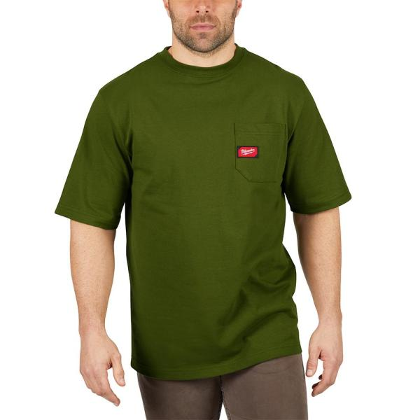 Men's Large Olive Green Heavy Duty Cotton/Polyester Short-Sleeve Pocket T-Shirt