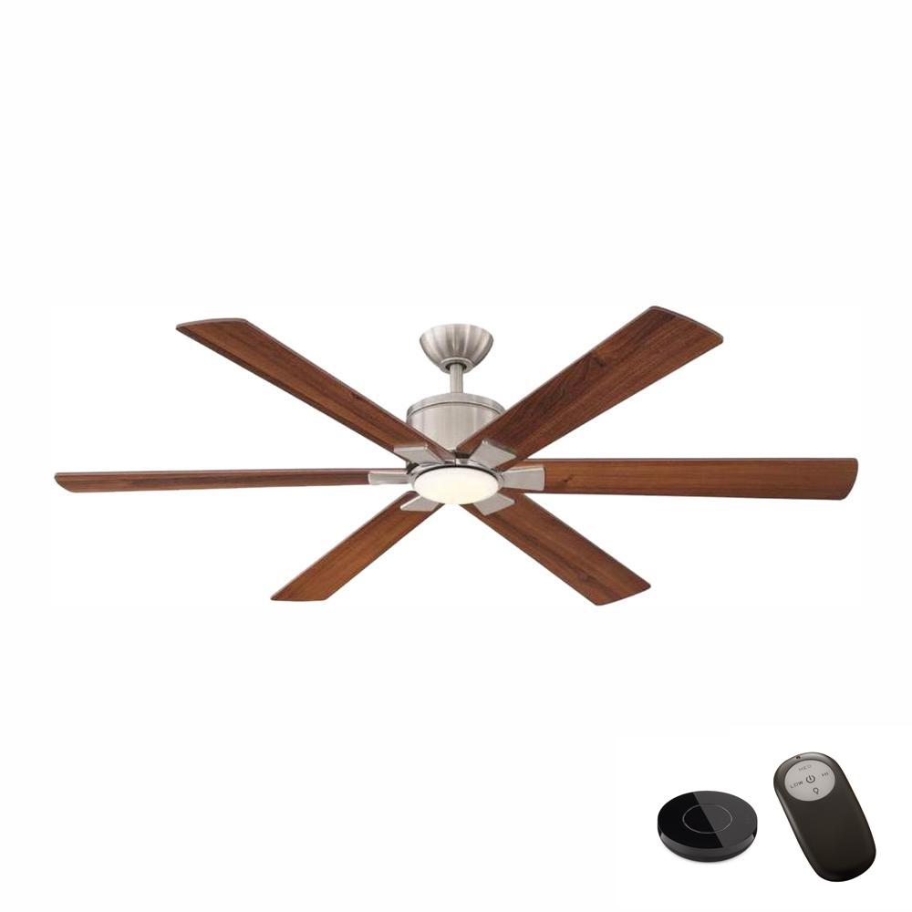 Home Decorators Collection Renwick 60 in. Integrated LED Brushed Nickel Ceiling Fan with Remote Control works with Google and Alexa