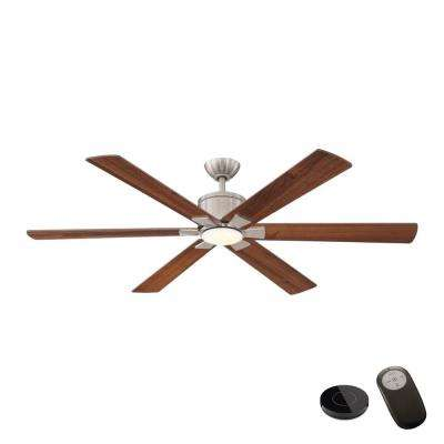 Renwick 60 in. Integrated LED Brushed Nickel Ceiling Fan with Remote Control works with Google and Alexa