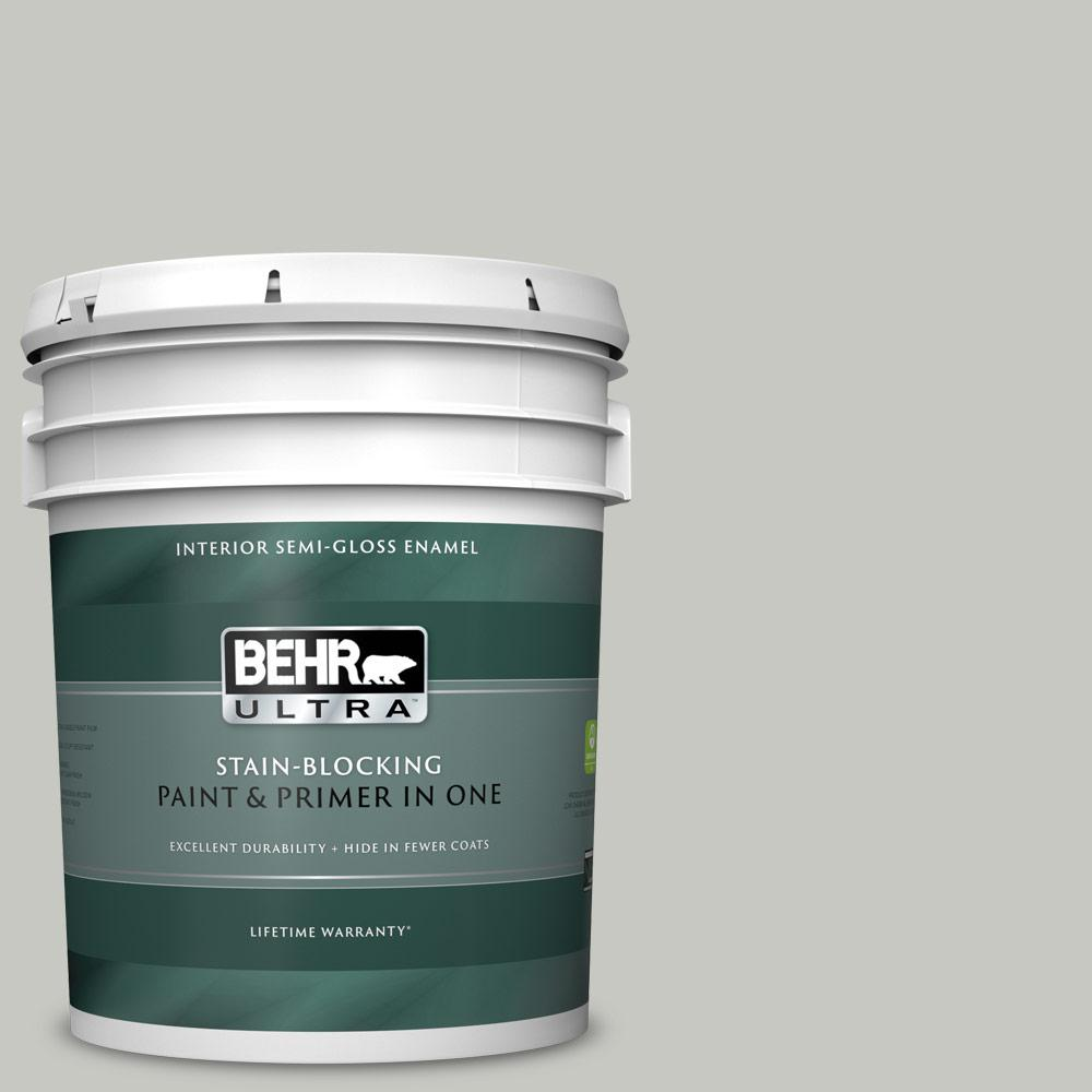 Behr Ultra 5 Gal Ppf 29 Traditional Gray Semi Gloss Enamel Interior Paint And Primer In One