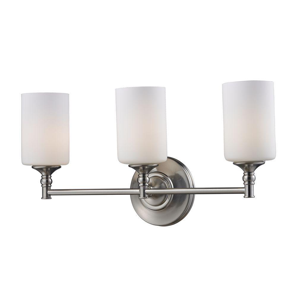 Filament design lawrence 3 light satin nickel incandescent wall bath vanity light cli jb2102 3v for Bathroom vanity tray satin nickel