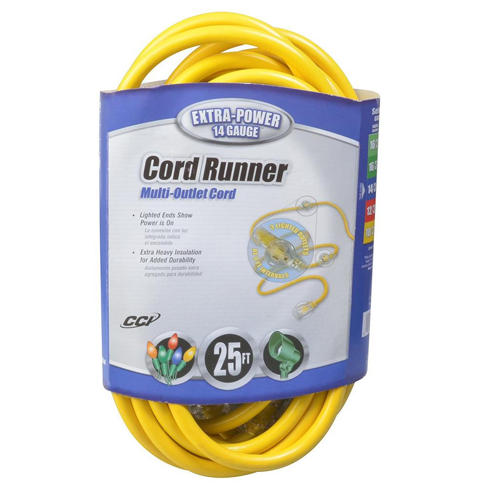 Southwire 25 ft. 14/3 STW Cord Runner Extension Cord, Yellow