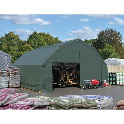 20 ft. W x 20 ft. D x 12 ft. H Galvanized Steel and PVC Garage Without Floor in Green with Heavy-Duty Green Cover