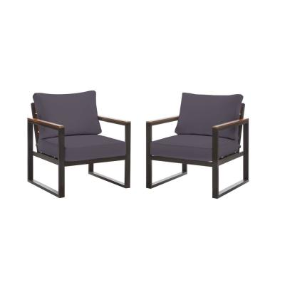 West Park Black Aluminum Outdoor Patio Lounge Chair with CushionGuard Midnight Navy Blue Cushions (2-Pack)
