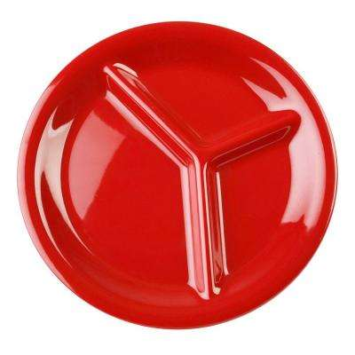 Coleur 10-1/4 in. 3-Compartment Plate in Pure Red (12-Piece)
